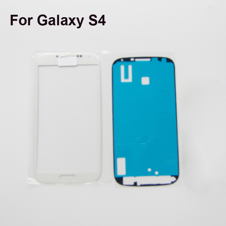 White Front Touch Screen For Samsung Galaxy S4 SIV S 4 S IV i9500 GT-I9505 Outer Glass Lens with adhesive