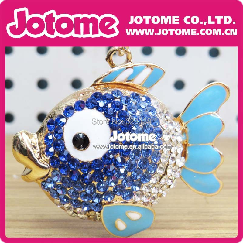 Free Shipping Lovely Goldfish Blue&Clear Rhinestone for Necklace(China (Mainland))
