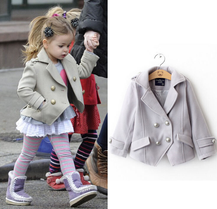 2014 Toddler Girls Winter Jackets Clothing Female Child Woolen Short Overcoat Fashion Kids Beige