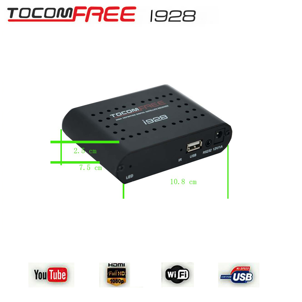 South America Satellite receiver tocomfree i928 hd iks sks nagra 3 and free shipping cost is 2/Lot(China (Mainland))