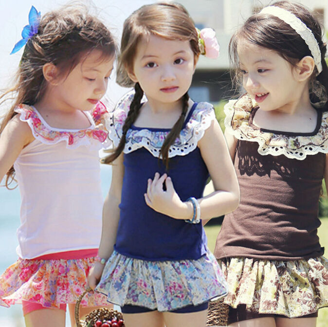 2015 New summer Children Clothing Set Girls Vest +Shorts Kids Twinset for Girls Garment White Blue Brown(China (Mainland))