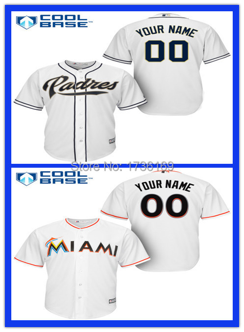 Kids Custom Miami Marlins Jersey San Diego Padres Jersey Personalized Stitched Cool Base Baseball Youth Jerseys(China (Mainland))