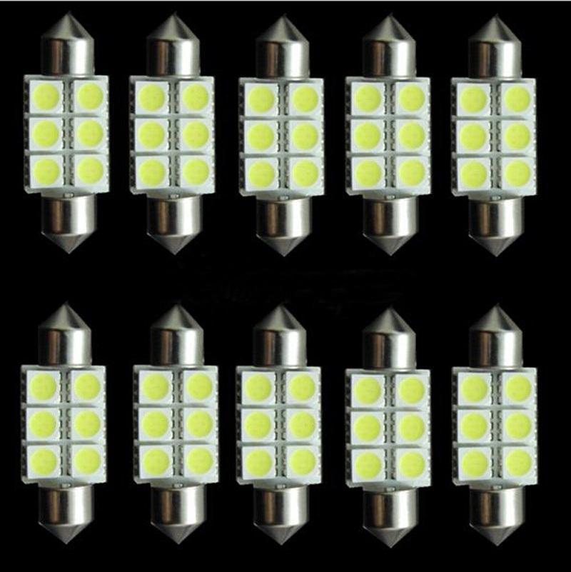 10pcs White 31mm 36mm 39mm 41mm Festoon 5050 SMD 6 LED C5W Car Led Auto Interior Dome Door Light Lamp Bulb Pathway lighting 12V(China (Mainland))