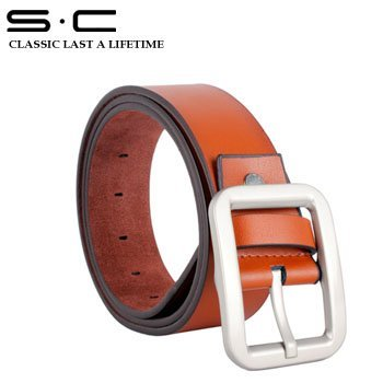S.C TOP brand 100% genuine Leather waist Belt for men + fashion brown Leather Belts + free shipping high quality hot sale