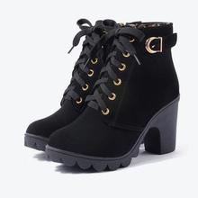 MCCKLE Plus tamaño de las botas del tobillo de las mujeres plataforma tacones altos zapatos de hebilla tacón grueso bota corta damas calzado Casual envío de la gota(China)