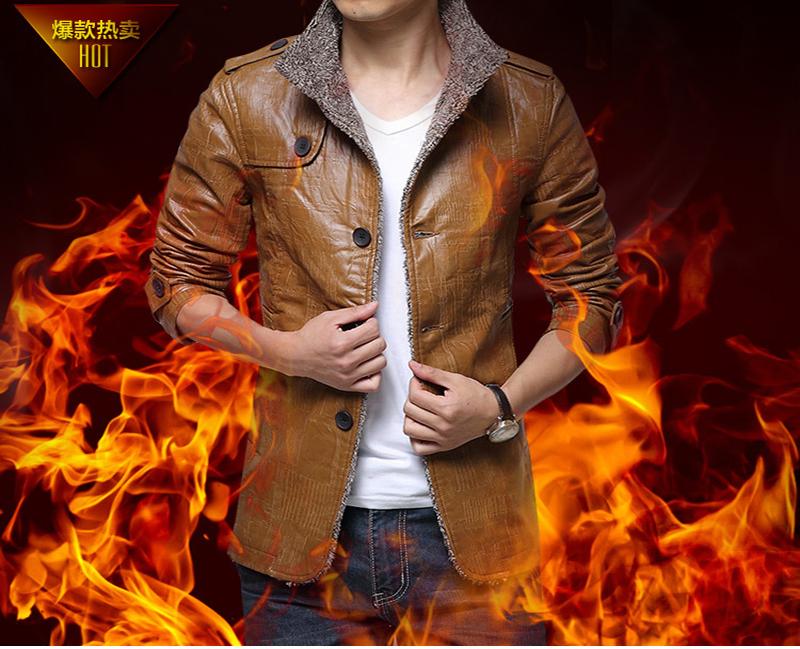 2015 New Mens PU Leather Coat Male Casual Jacket 3 Color Cazadoras Cuero Hombre Men Fur Size M-XXXXL CT07 - Top store