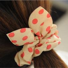 summer style hair accessory Hair band Polka dot leopard trip hair rope Rabbit Ears scrunchy Hair