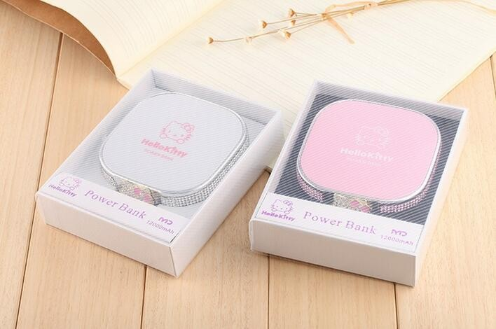 12000mAh Universal Portable charger hello kitty Power Bank external with battery for iphone for Samsung/All Mobile phone
