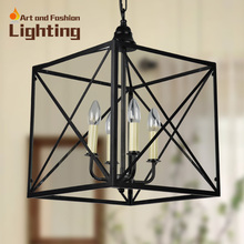 New Arrival Nordic Cage Pendant Lamp Abstract Wrought Iron Pendant Lights Candle E14 Light Source(China (Mainland))