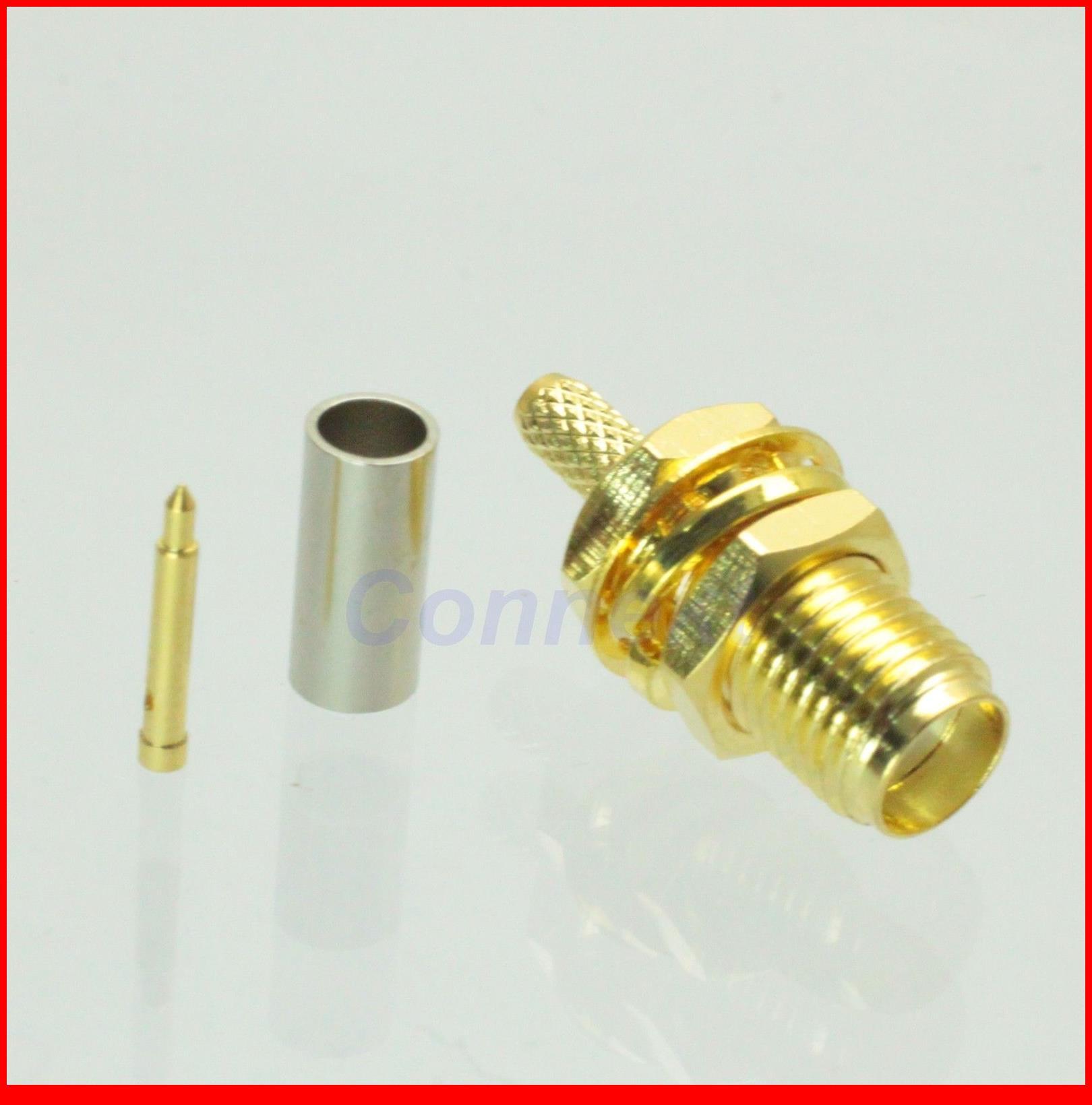 50pcs/lot  RP-SMA female plug center nut bulkhead crimp RG174 RG316 LMR100 RF connector<br><br>Aliexpress