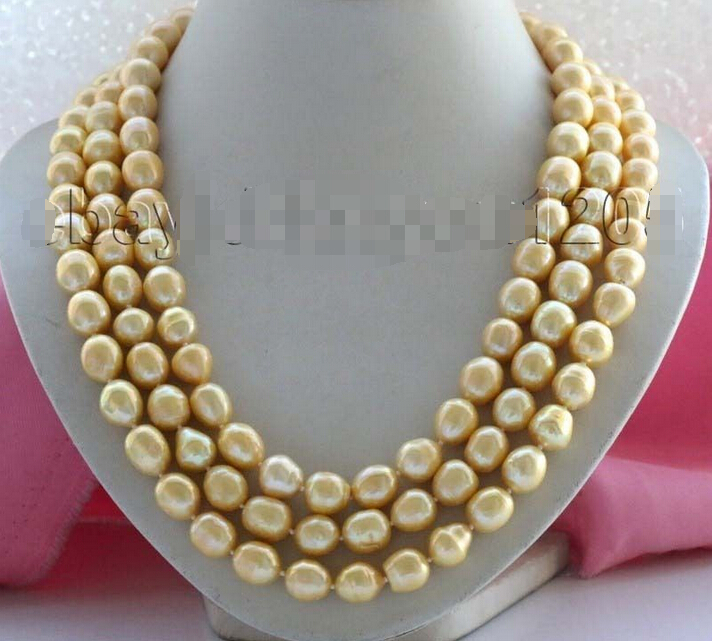 FREE SHIPPING  Longest 65 Genuine Natural 13mm Golden Rice Pearl Necklace #f1977!<br><br>Aliexpress