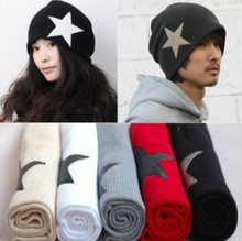 2015 Hot Sale!! Unisex Men's Crochet Star Beanie Hat Skull Cap Ski Knit Winter Women Hats Black/Red for Xmas a2