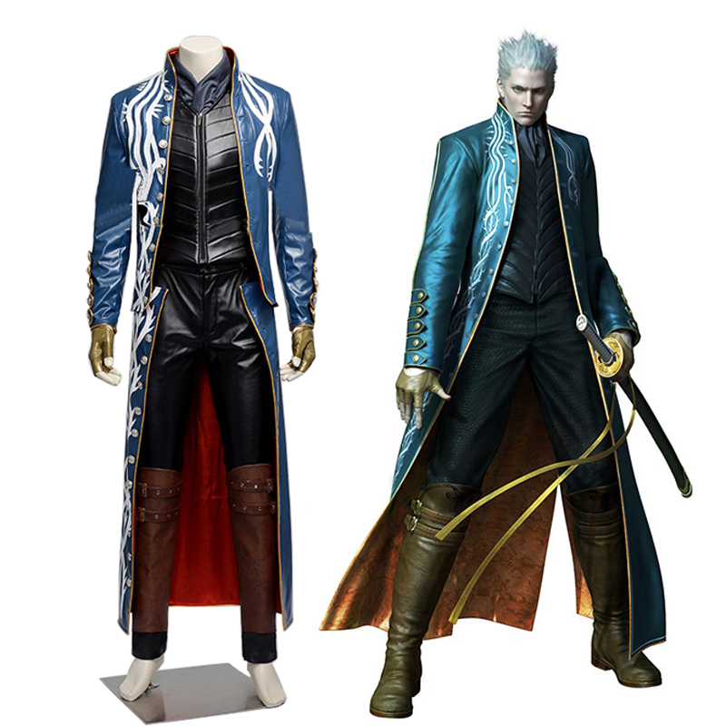 Devil May Cry 4 Dante Vergil cosplay costume Adult Fantasia Halloween Costume for men Leather jacketОдежда и ак�е��уары<br><br><br>Aliexpress