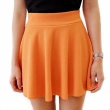 Free shopping Women high waist skirt solid color pleated skirt slim hip gulps half puff skirt mini skirt  H9925