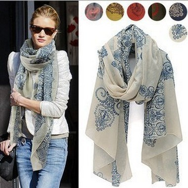Big Size Blue White Silk Scarf Women Large Big Scarf Printted Floral Shawl Female Spain Desigual Cheap Pashmina Scarves W3027(China (Mainland))