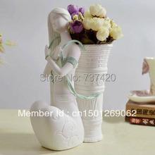 Unique Flower Vase girl sculpture vase for home decoration crafts ceramics vase white girl pot free shipping(China (Mainland))