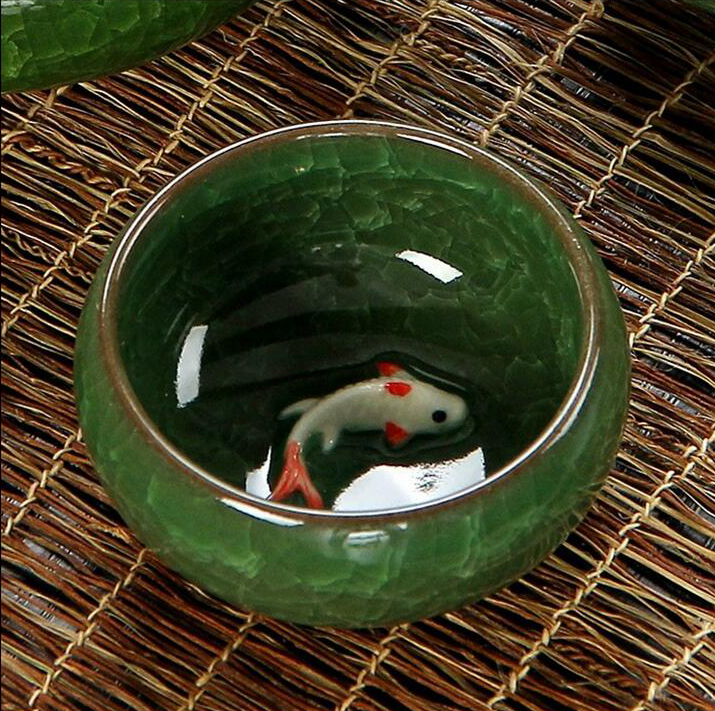 1 Pc Green Ice-Crackle Porcelain Tea Cup Fish Pattern Ceramic 30ml