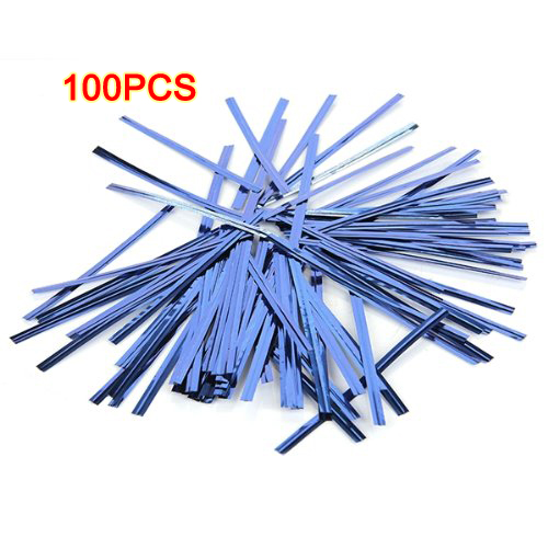 Promotion ! 100 Pcs Blue Metallic Plastic Twist Ties for Cello Lollipop Candy Bags Bakery(China (Mainland))