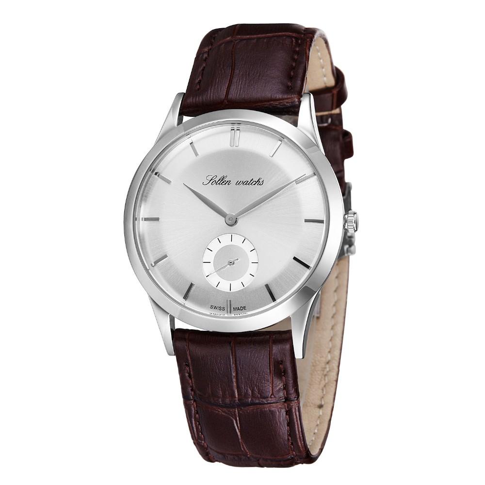 SOLLEN олон мужской часы кожа часы кварцевые часы водонепроницаемый мужской деловой тонкий минималистский человек смотреть