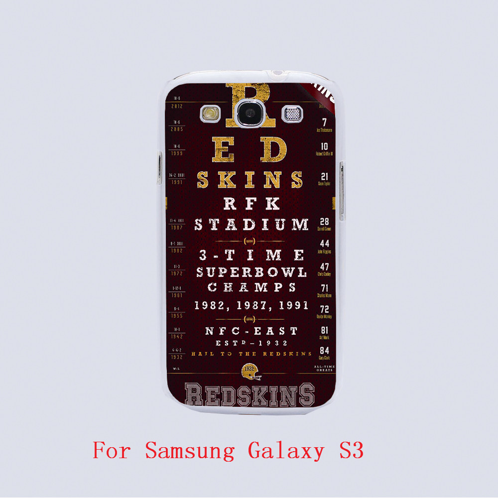 Washington Redskins Football Eye Chart Design black skin phone cover cases For Samsung Galaxy S3 9300 /S4 /S5 /S6 /S6 Edge(China (Mainland))