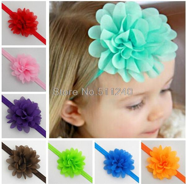 Free shipping childern/ Baby hairband Girls Lace Hair Accessories Baby Girl Chiffon Flower Headband Infant Hair Weave band(China (Mainland))