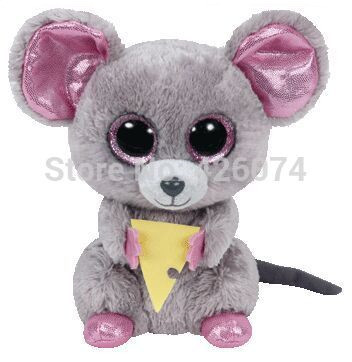Ty Beanie Boos Big Eyed Stuffed Animals Squeaker Mouse With Cheese 15CM Kids Plush Toys Children Gifts(China (Mainland))