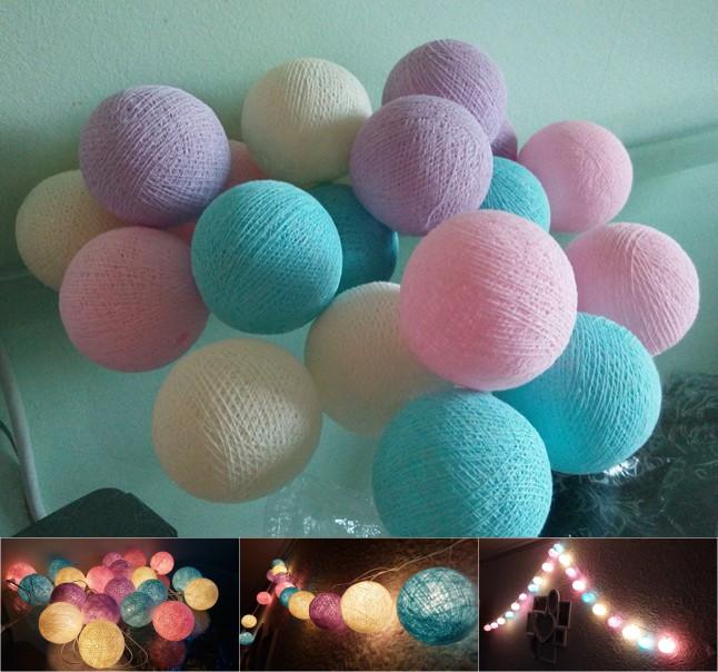 2016 new design sweet pony tone cotton ball string lights , Fairy lights,Wedding,party,Patio,xmas Decor(China (Mainland))