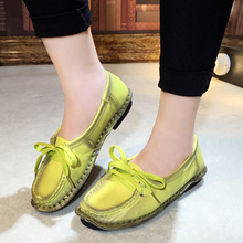 2016 New Brand Women's Genuine Leather Casual Shoes Fashion Women Flat Shoes Woman Loafers Solid Comfortable Soft Women Shoes(China (Mainland))