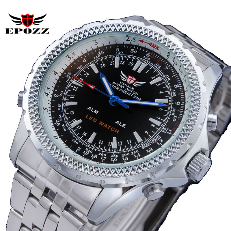 Men watch luxury brand EPOZZ LED watches 30M waterproof full steel quartz watch orologi uomo relogio masculino 2016 saat <br><br>Aliexpress