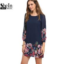 SheIn Ladies Autumn Fashion 2017 Long Sleeve Dress Casual Women Clothing Dark Blue Lantern Sleeve Floral Shift Dress(China (Mainland))