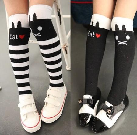 2014 Hot Sale New Lovely Fashion Children Kids Girl's Letter Cat Black Leg Warmers Stockings 4 Colors(China (Mainland))