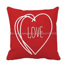 Lover Heart Shaped Cotton Linen Throw Pillow Case Cushion Cover