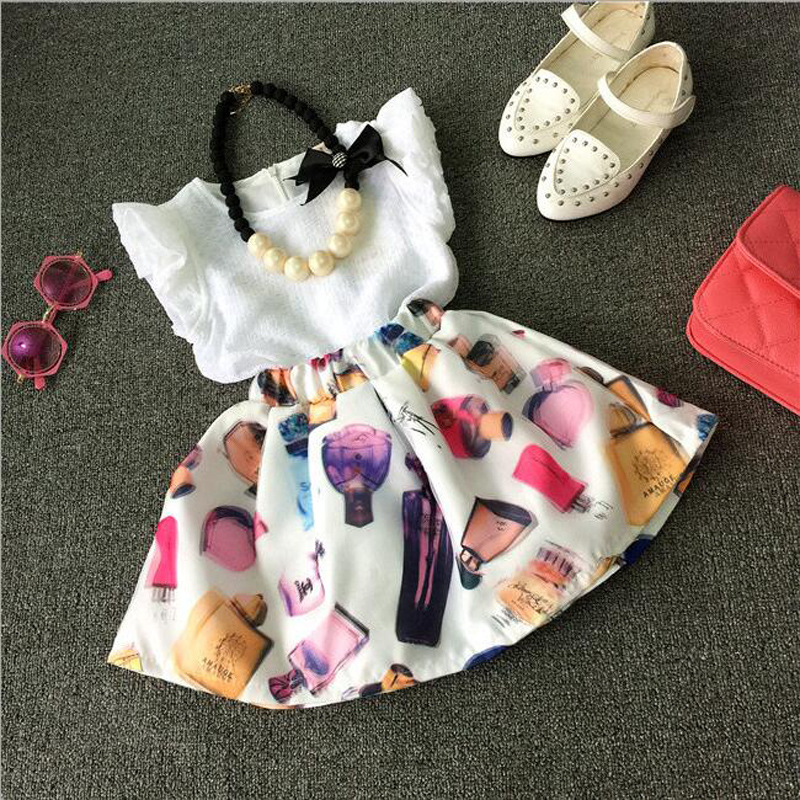 New Style Girls T-Shirt +Skirt 2 Piece One Set Summer Dresses for Children Party Dresses for Kids Princess Tutu Dresses 3-7T<br><br>Aliexpress