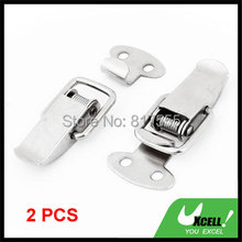 2 Pcs Stainless Small Clasp Hasp Connector Tool Silver Tone