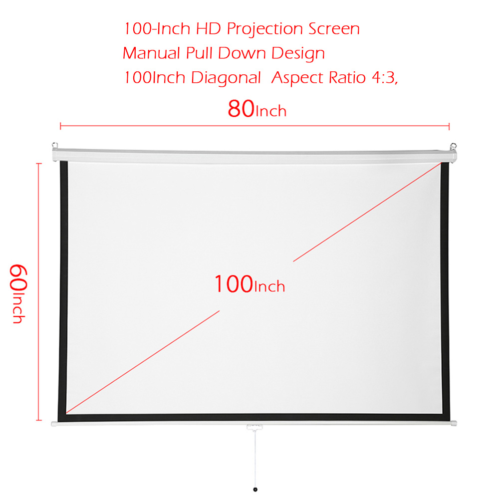 """100"""" 4:3 Simple White Projector Screen Manual Pull Down 100Inch Diagonal Aspect Ratio 4:3 Projection Screen US Stock Shipping"""