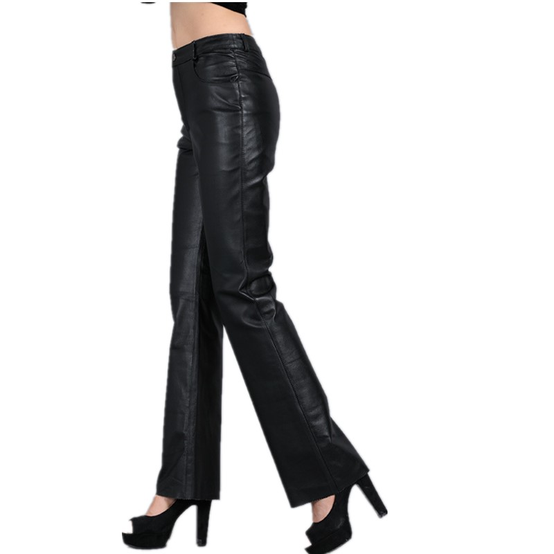 2014 Womens Bell-bottom Leather Pants Suit Genuine Leather Slim Hip Pants Womens Casual PantsОдежда и ак�е��уары<br><br><br>Aliexpress