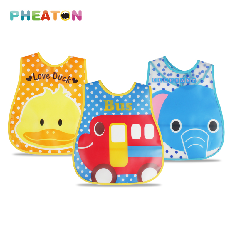 EVA Waterproof Lunch Bibs Children Self Feeding Care Burp Cloths Baby Bibs Boys Girls Infants Cartoon Pattern Bib