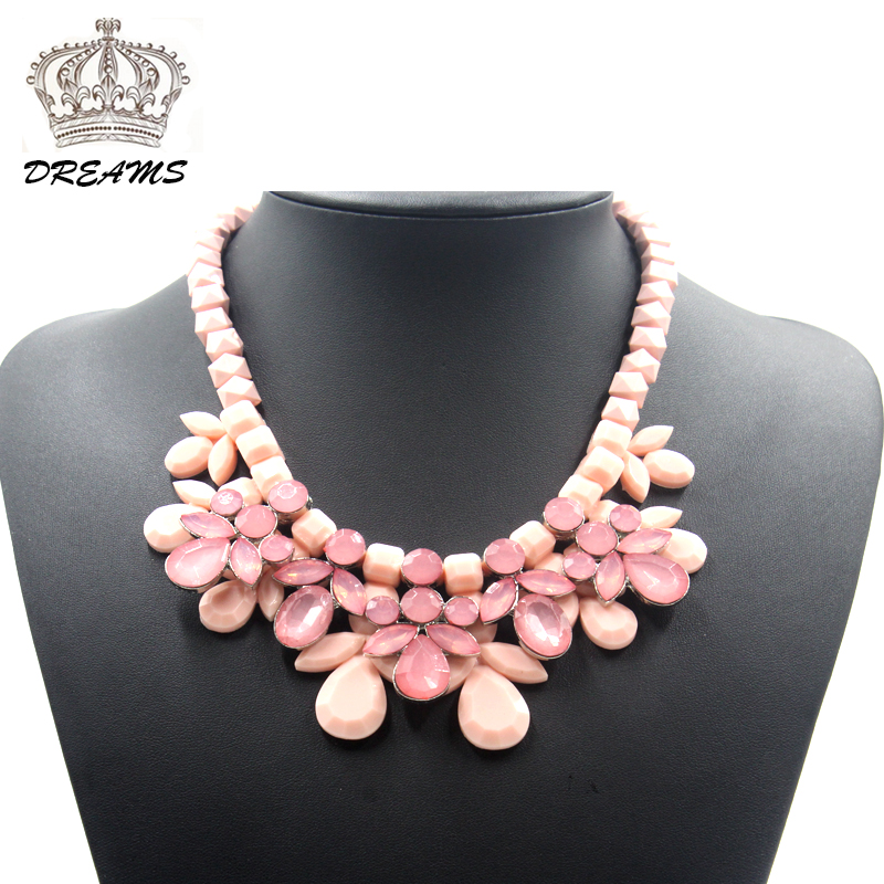 2016 ZA Designer Crystal Resin Necklace Women Crystal Flower Pendant Necklace Ribbon Choker Bib Collar Necklace for Party(China (Mainland))