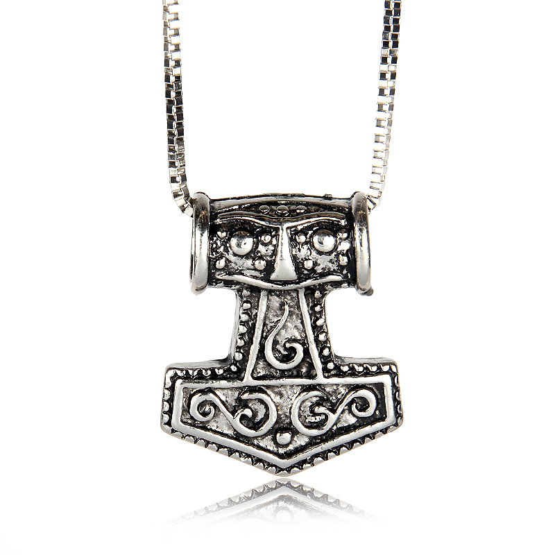 2 Styles Thor's Hammer Mjolnir Pewter Pendant Necklace(China (Mainland))