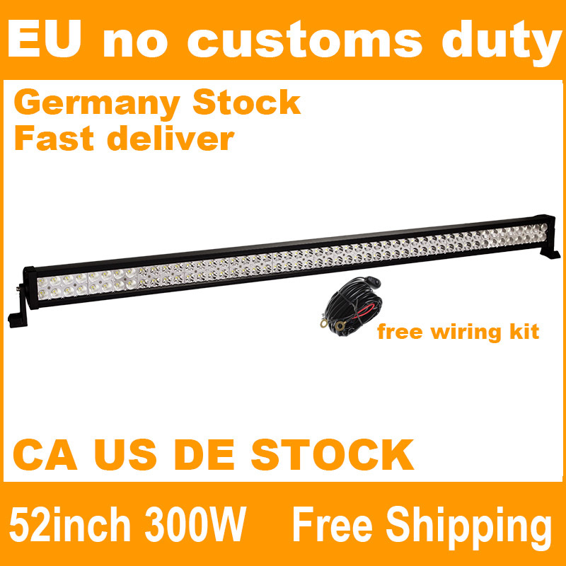300W 52 inch Offroad LED Work Light Bar for Driving Tractor Boat Truck SUV ATV Car Garden Backyard 12V 24V with Wiring Kit(China (Mainland))