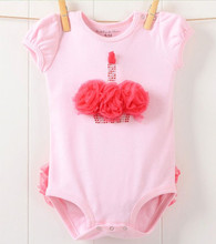 baby girl's Rose flower Crown pink bodysuits with lace sleeveless newborn toddler cotton jumpsuits kids clothes(China (Mainland))
