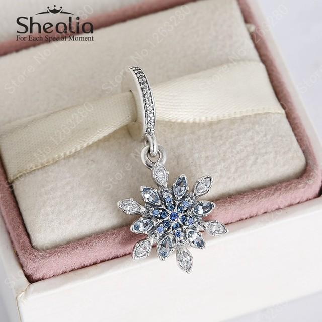 Ясно CZ и голубой кристалл рождество снежинка мотаться подвески 2015 зима 100% серебро 925 изящные украшения для женщин браслеты