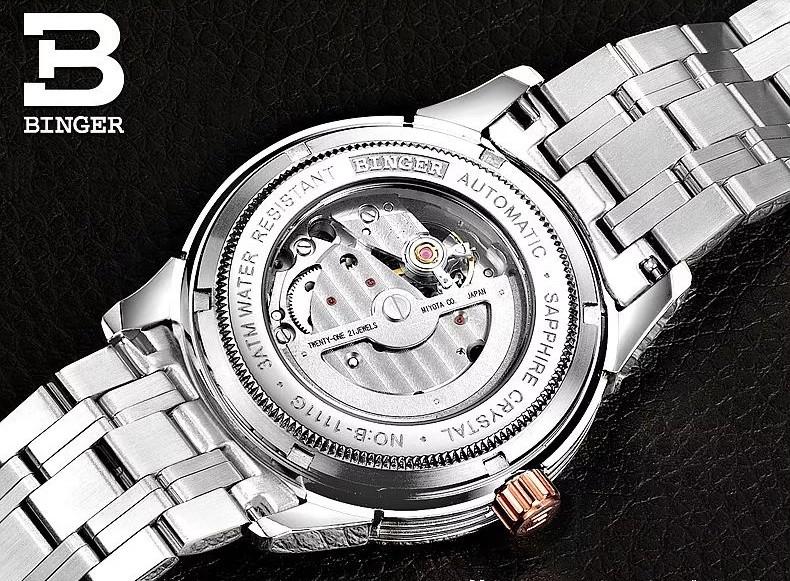 2016 Новые Случайные Бингер Часы Военный Хронограф Наручные Часы Полые Авто Дата Роскошный Черный Dail Секундомер
