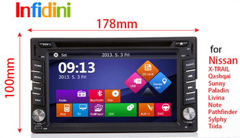 DVD GPS for Nissan X-TRAIL Qashqai Paladin Livina Note Pathfinder Sylphy Tiida Sunny x trail  Patrol  radio bluetooth+Camera