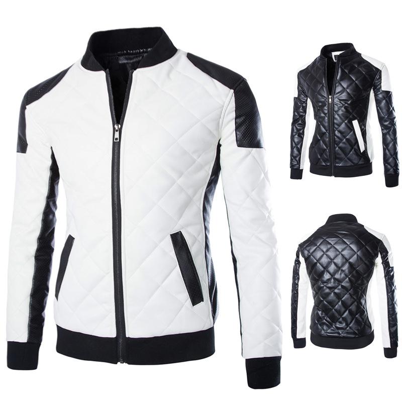 2016 Faux Leather jacket men's zipper design leather jacket men Slim PU leather jacket High quality men jacket black/white(China (Mainland))