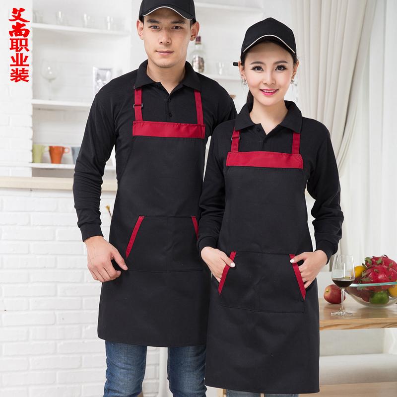 Korean Fashion Around The Neck Hanging Apron Apron Coffee Shop Waiters Work Custom Printed Apron Kitchen Apron Patterns(China (Mainland))