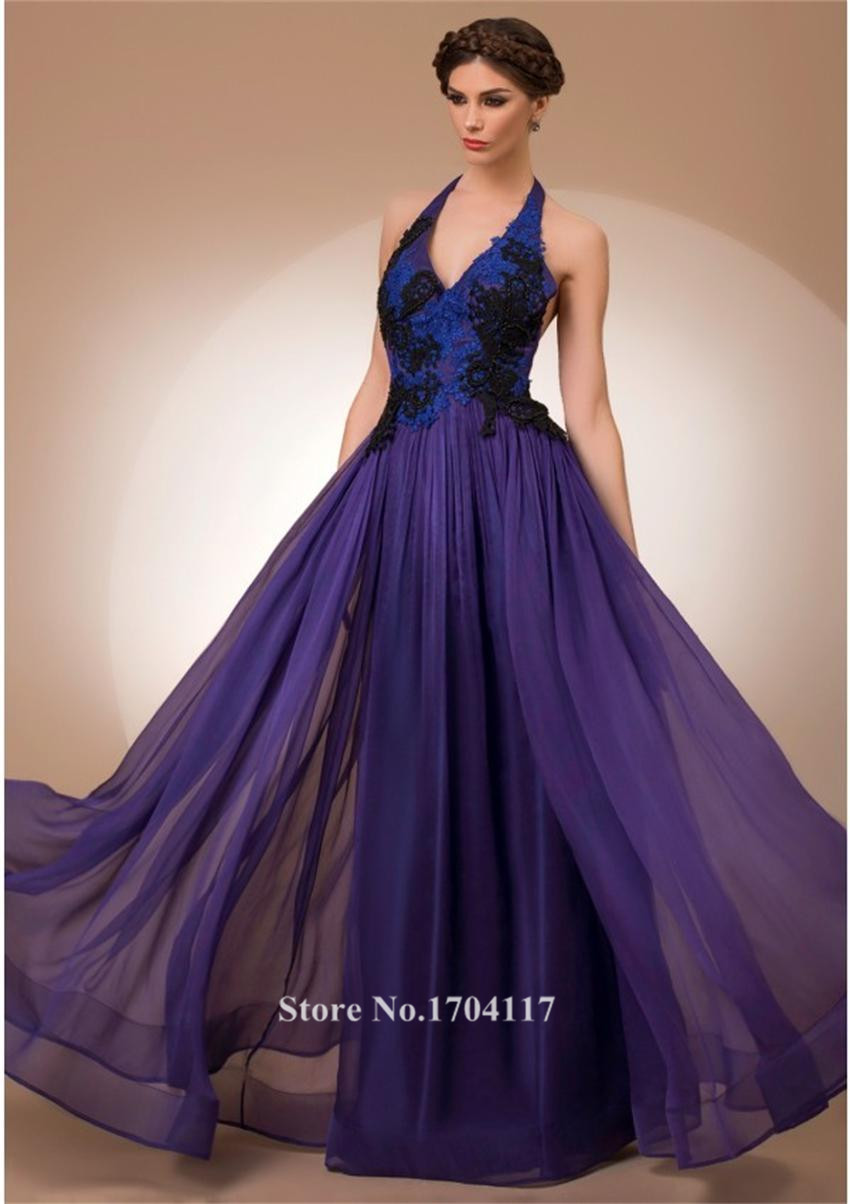 robe de soiree elegant halter purple long evening dress 2016 fashion black and blue lace. Black Bedroom Furniture Sets. Home Design Ideas