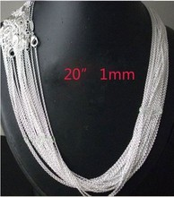New !!!  FREE SHIPPING! wholesale 10pcs 925 sterling Silver 1mm Rolo Chain 20 inch!  silver necklace  for women,fashion jewelry