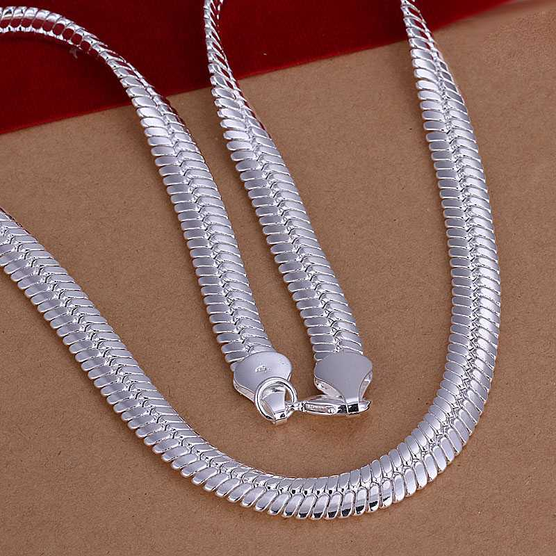 Silver necklace Men jewelry 925 silver snake necklace chain 925 Silver Necklace Sterling Jewelry 10mm Flat Snake Necklace XJ209(China (Mainland))