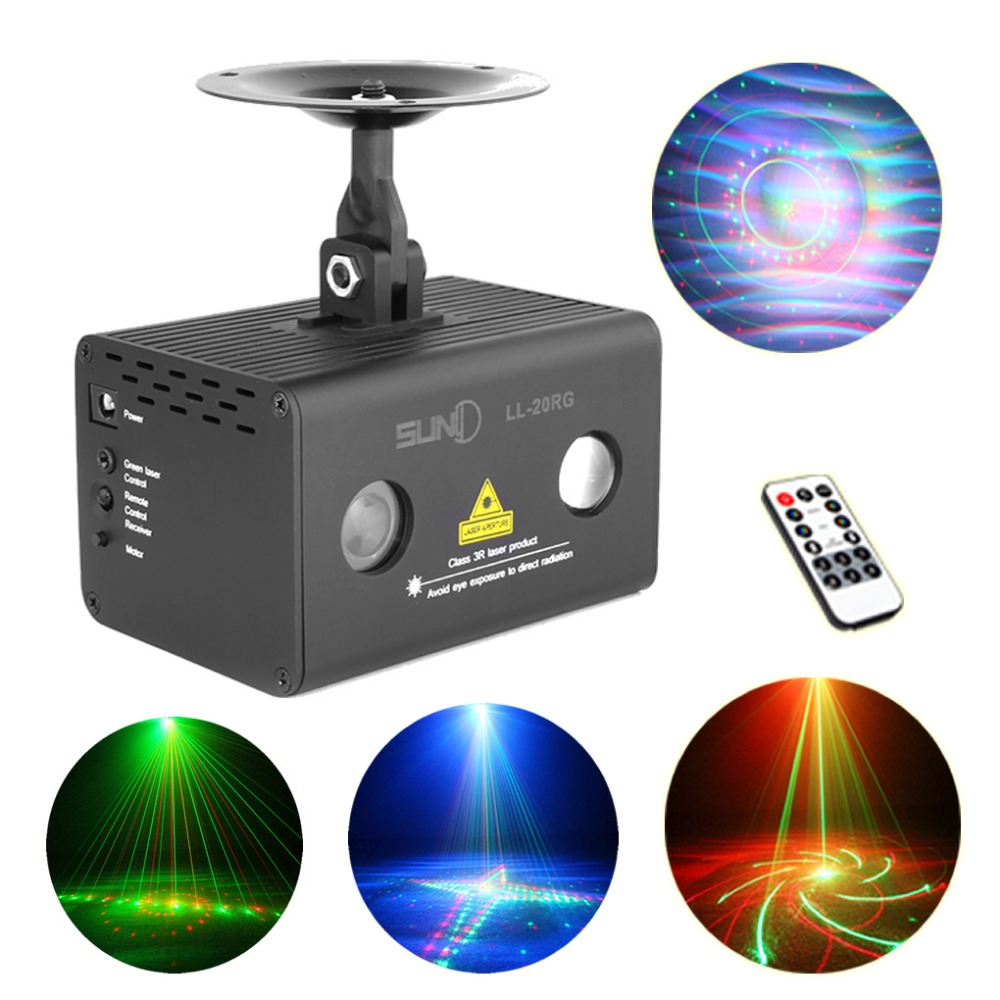 Hot Remote 20 Patterns RG Laser Lighting Xmas Water Galaxy RGB LED Stage Light Projector Aurora Effect Party DJ Home LL-20RG(China (Mainland))